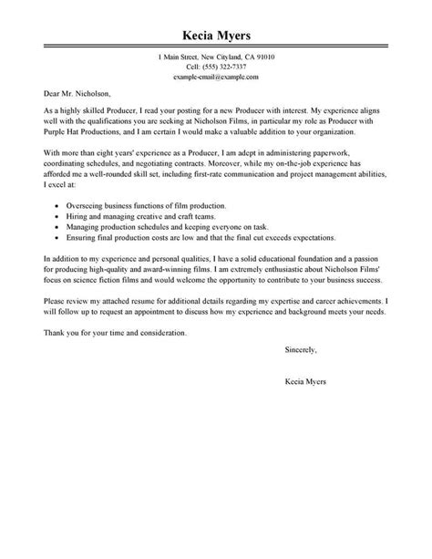 media entertainment cover letter examples livecareer