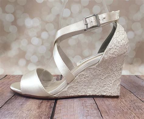 Ivory Wedding Shoe Wedges With Lace Overlay