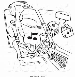 vector of a cartoon man listing to tunes in his car With car audio design
