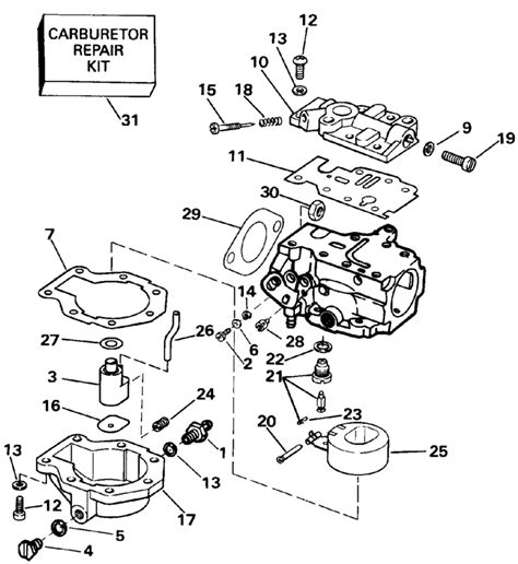 20 Hp Johnson Outboard Diagram by Johnson Carburetor 20 Parts For 1991 20hp J20crleie