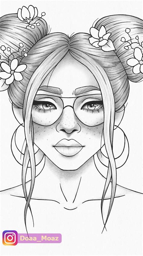 printable coloring page girl portrait  clothes colouring sheet floral  printable anti