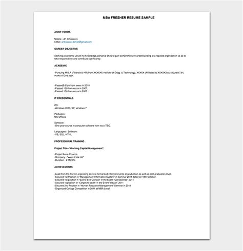 Career Objective For Fresher by Fresher Resume Template 50 Free Sles Exles