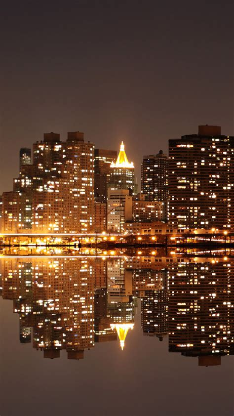 hd city reflection  night android wallpaper
