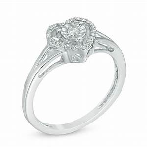 1  10 Ct  T W  Diamond Heart Split Shank Ring In Sterling