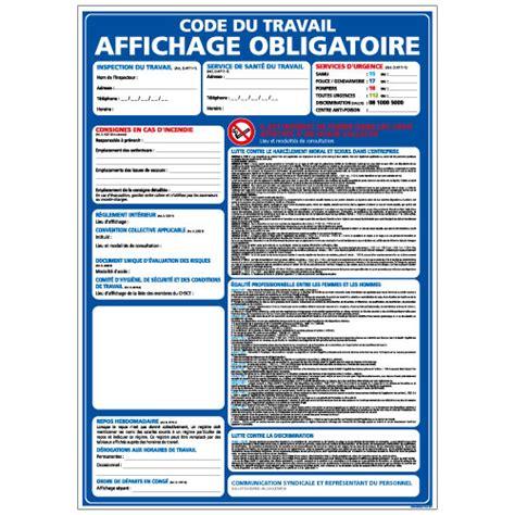 panneaux affichage obligatoire bleu code du travail a0582