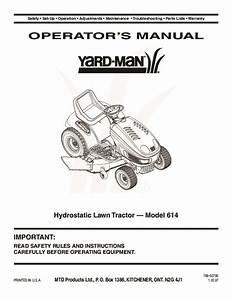 Mtd Yard Man 614 Hydrostatic Tractor Lawn Mower Owners Manual