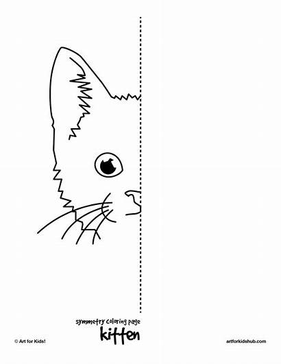 Symmetry Drawing Worksheets Worksheet Coloring Pages Kitten