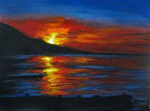 Art-3000: Picture Sunset seascape acrylic painting (easy ...