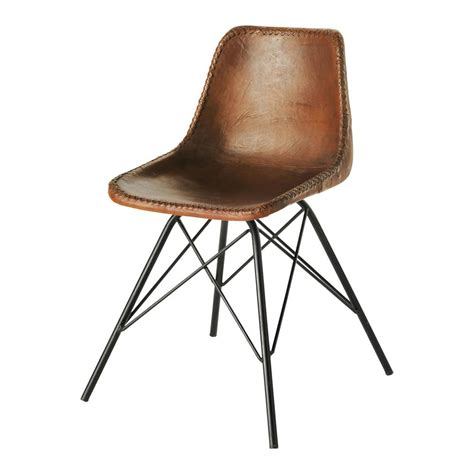 chaise industrielle metal leather and metal industrial chair in brown austerlitz