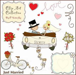 Just Married 11 piece Clip art set in premium quality 300
