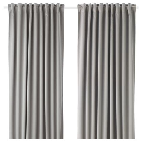 White And Gray Curtains Ikea by Majgull Block Out Curtains 1 Pair Grey 145x250 Cm Ikea