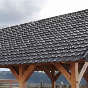 Tole Pour Toiture : plaque imitation tuile acier galvanis anthracite iko ~ Premium-room.com Idées de Décoration