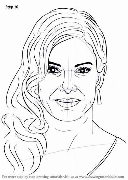 Step Bullock Sandra Draw Drawing Celebrities Tutorials