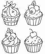 Cupcake Coloring Cupcakes Outline Doodle Muffins sketch template
