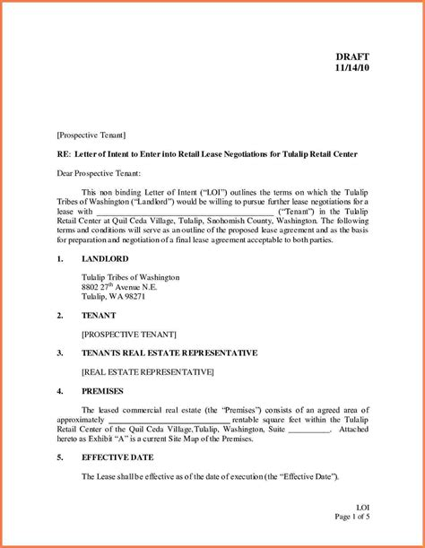 letter  intent  lease commercial space template