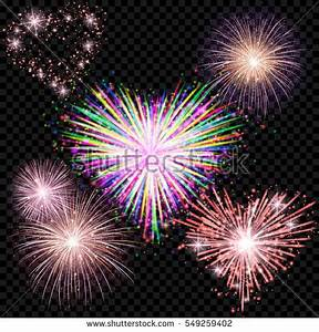 Vector Holiday Valentine Fireworks Set Isolated Stock