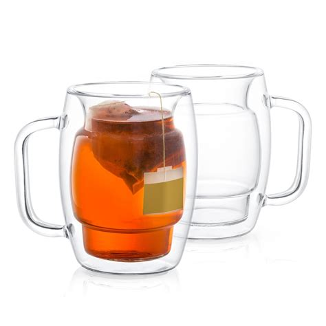 The garnavillo double wall insulated coffee mug is stronger and more durable than common glass and has a smooth finish. JoyJolt Cadus Double Wall Insulated Mugs, 10 OZ Set Of Two Tea Glasses, Clear   Insulated mugs ...