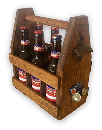 handcrafted wooden beer carrier  magnetic cap catcher