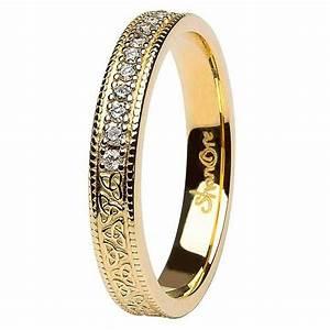 celtic trinity knot diamond set 14k yellow gold wedding ring With trinity knot wedding rings