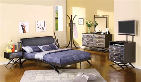 Metro Contemporary Gun Metal Youth Bedroom Set With Padded