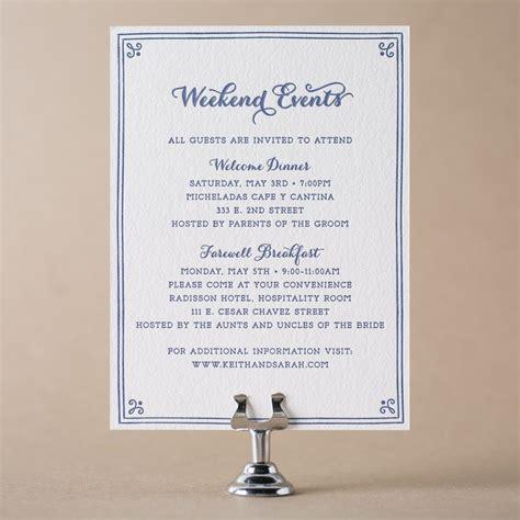 Letterpress wedding events cards for wedding invitations