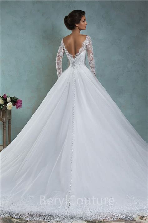 Ball Gown Bateau Neck Low V Back Lace Tulle Wedding Dress