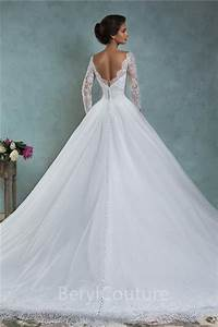 ball gown bateau neck low v back lace tulle wedding dress With v back wedding dress