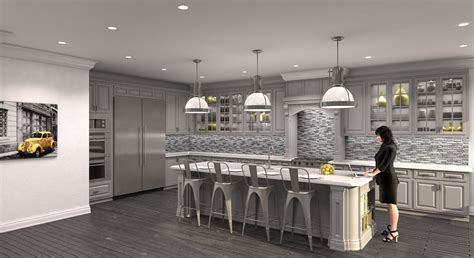 Open Plan Kitchen Family Room Ideas - cgarchitect professional 3d architectural visualization user community gray kitchen