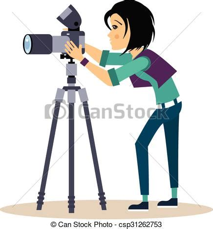 12144 professional photographer clipart photographer with tripod in flat style vector