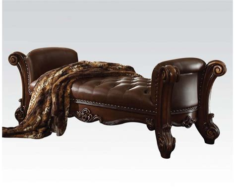 vendome button tufted faux leather bench  brown