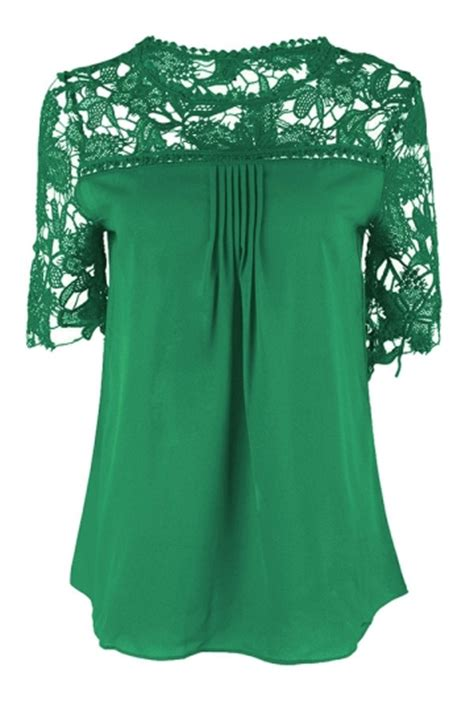 womens green blouse womens plain lace splicing sleeve blouse