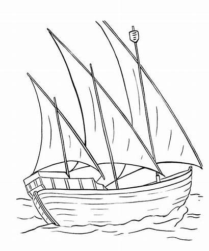 Coloring Ship Boats Boat Draw Columbus Nina
