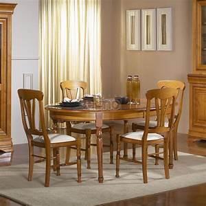 Table de salle a manger 4 pieds merisier massif louis for Meuble salle À manger avec chaise cuir noir salle manger