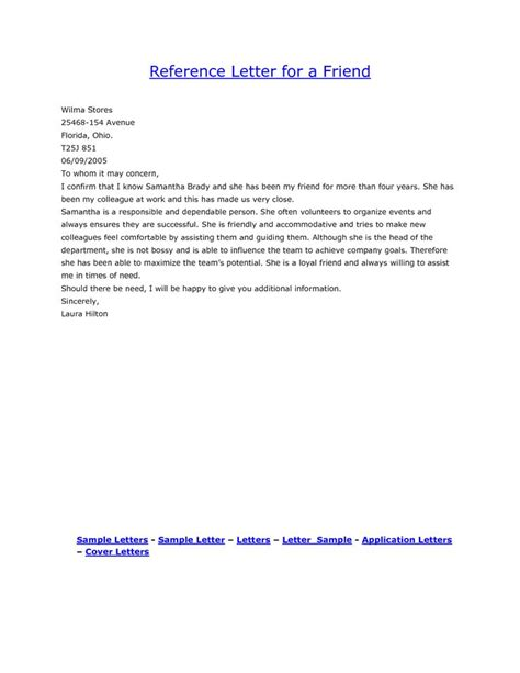 sample reference letter   close friend cover letter