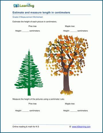 grade 2 measurement worksheets estimating lengths centimeters k5 learning