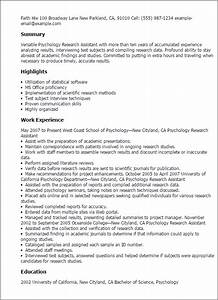 psychology research assistant resume template best With clinical trials jobs no experience
