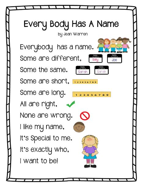 quot every has a name poem quot from play learn all 566 | 7e41edf6ab134979e2a179594277e5b0