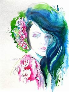 Original Watercolor Painting Artwork Woman Fashion ...