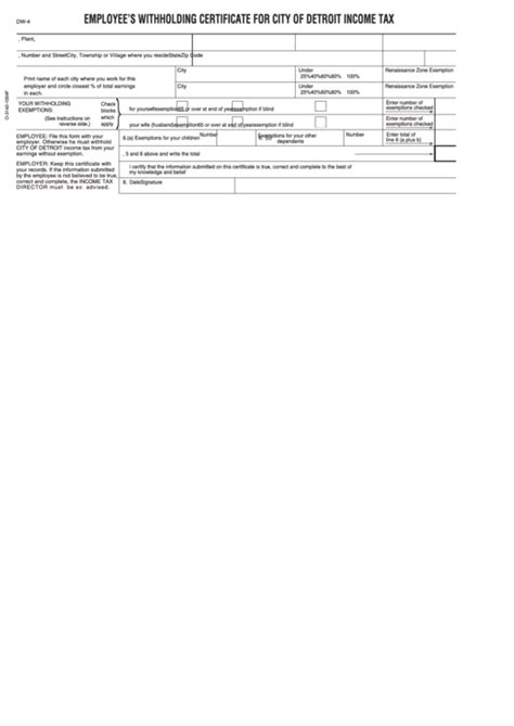 form dw employee detroit withholding tax income certificate printable