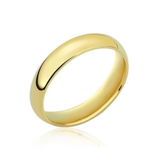 wedding ring plain band men s 14k yellow gold 4mm classic domed plain wedding band ring gift box ebay