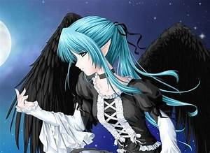 An anime angel with black wings under a full moon | cute ...