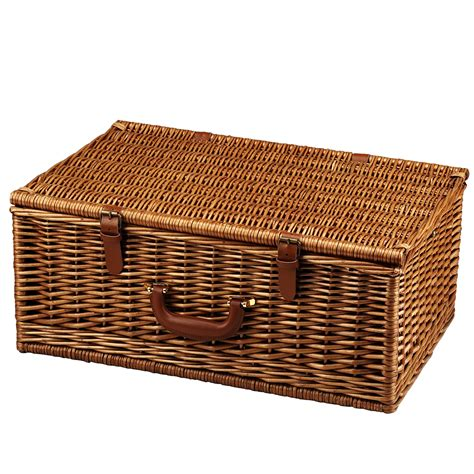 Picnic at Ascot Dorset English Style Willow Picnic Basket with Service for 4 and Coffee Set