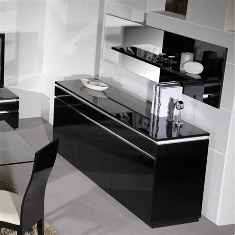 Black Gloss Buffet Sideboard by Elisa High Gloss Black Sideboard With Lighting 3 Doors