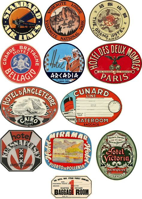 Vintage Style Travel Suitcase Luggage Labels Set Of 12