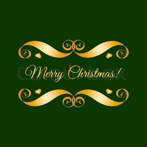 vector gold merry christmas badge  green easy