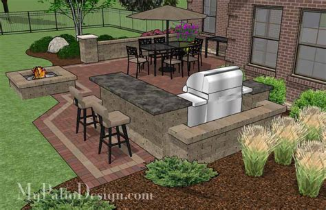 patio with grill design large brick patio design with grill station with attached bar a seating wall and stone fire pit