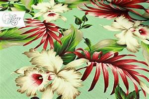 Stoffe Zum Nähen Kaufen : stoff blumen barkcloth hawaii bl ten baumwolle ein designerst ck von poppy ray bei dawanda ~ Buech-reservation.com Haus und Dekorationen