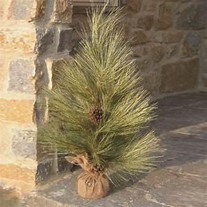 Vintage Florals Long Needle Pine Tree w/ Burlap Base - XP23130