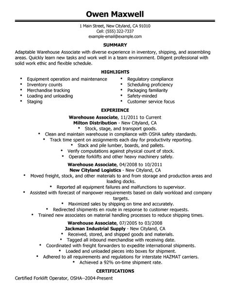 Objective For Resume Exle by General Warehouse Worker Resume Free Excel Templates