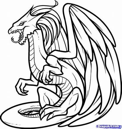 Dragon Coloring Realistic Head Drawings Sketch